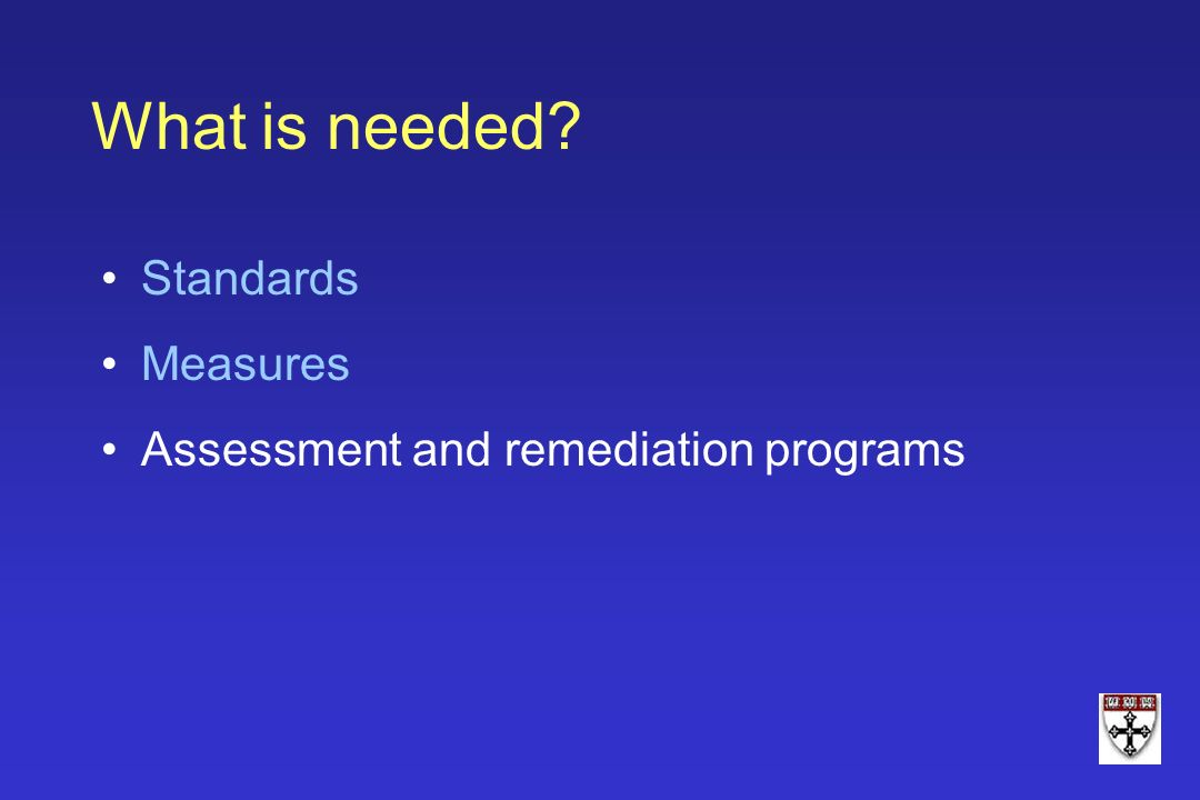 What is needed Standards Measures Assessment and remediation programs