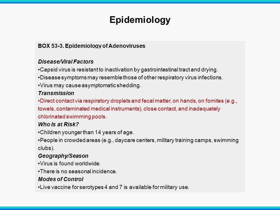 Epidemiology Disease/Viral Factors