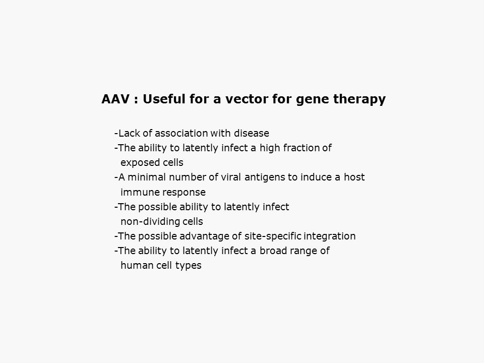 AAV : Useful for a vector for gene therapy