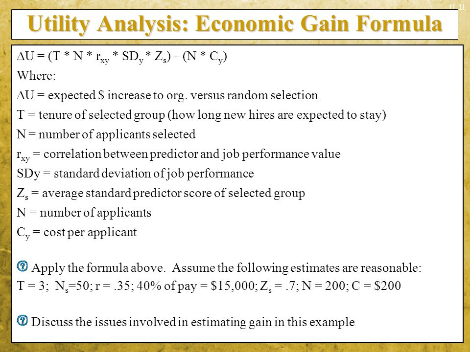Utility Analysis: Economic Gain Formula