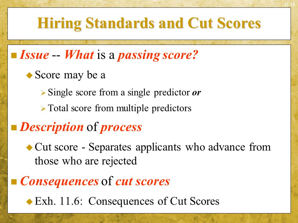 Hiring Standards and Cut Scores