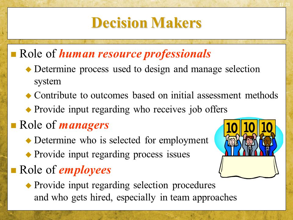 Decision Makers Role of human resource professionals Role of managers