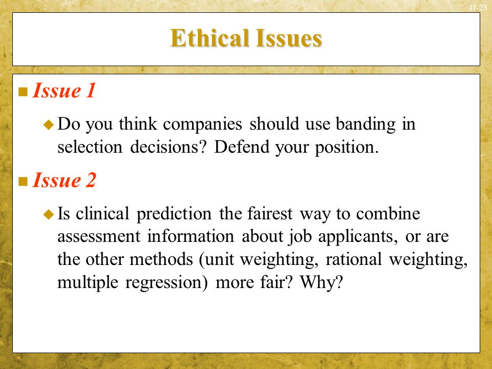 Ethical Issues Issue 1 Issue 2