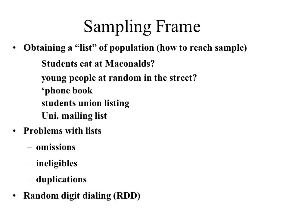 Sampling Frame and Samplig Unit