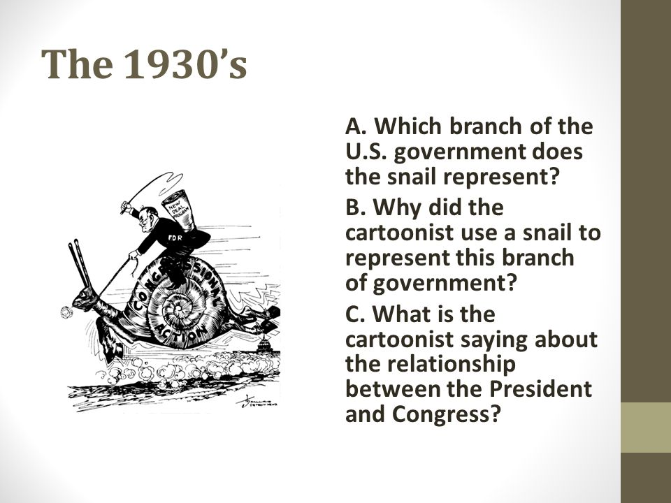 The 1930's A. Which branch of the U.S. government does the snail represent