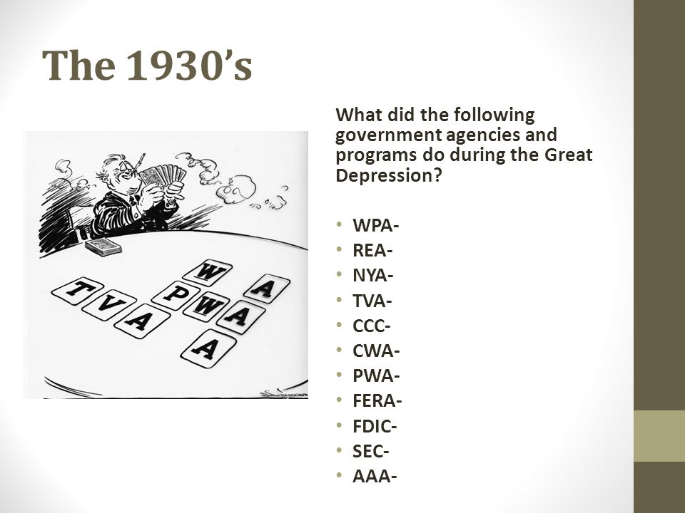 The 1930's What did the following government agencies and programs do during the Great Depression WPA-
