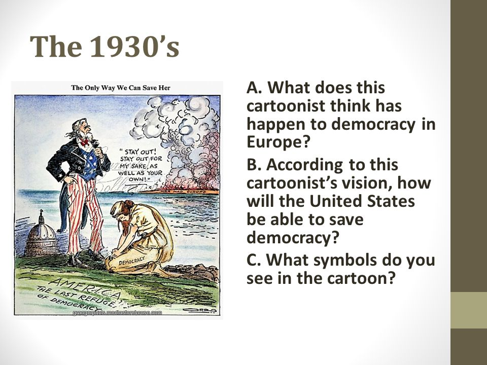 The 1930's A. What does this cartoonist think has happen to democracy in Europe