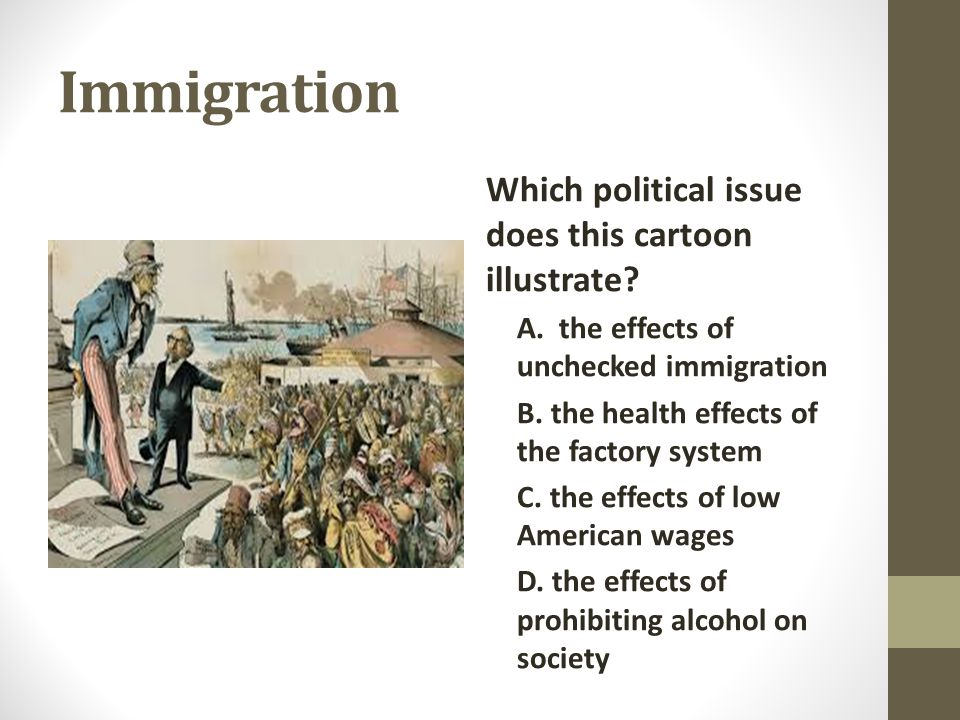 Immigration Which political issue does this cartoon illustrate