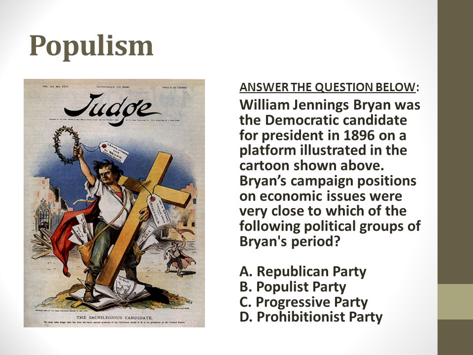 Populism ANSWER THE QUESTION BELOW: