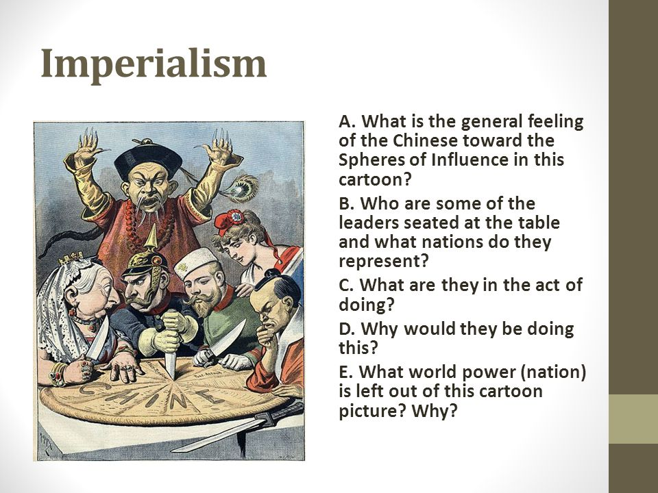 Imperialism A. What is the general feeling of the Chinese toward the Spheres of Influence in this cartoon