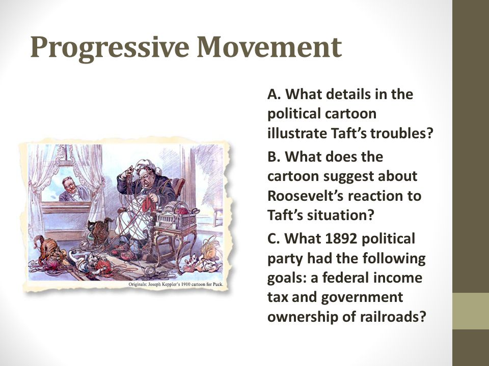 Progressive Movement A. What details in the political cartoon illustrate Taft's troubles