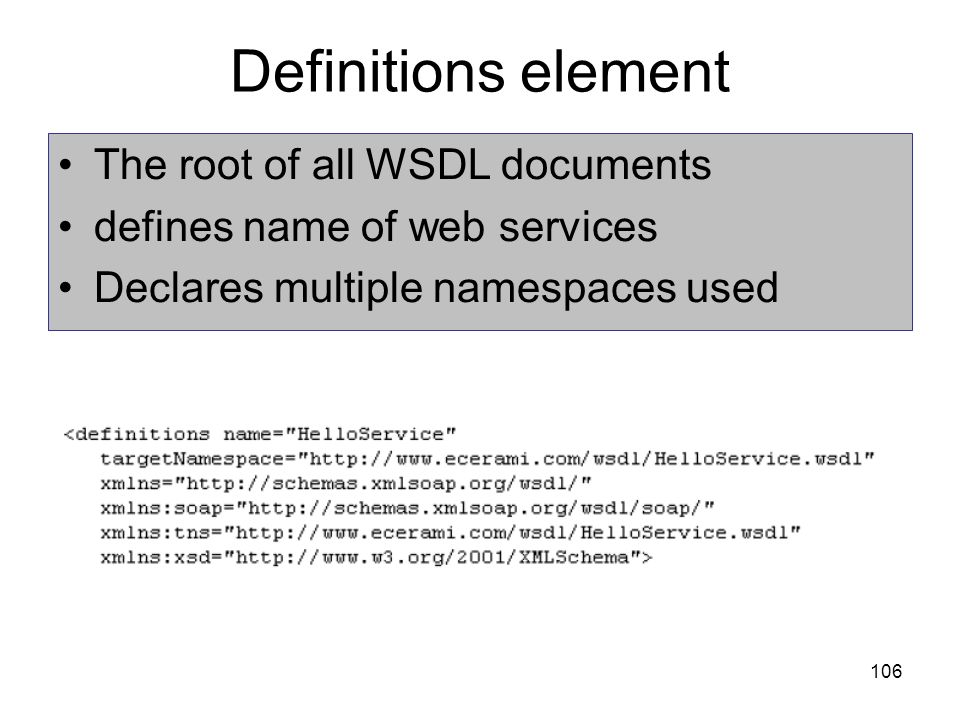 Definitions element The root of all WSDL documents