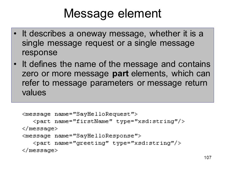 Message element It describes a oneway message, whether it is a single message request or a single message response.