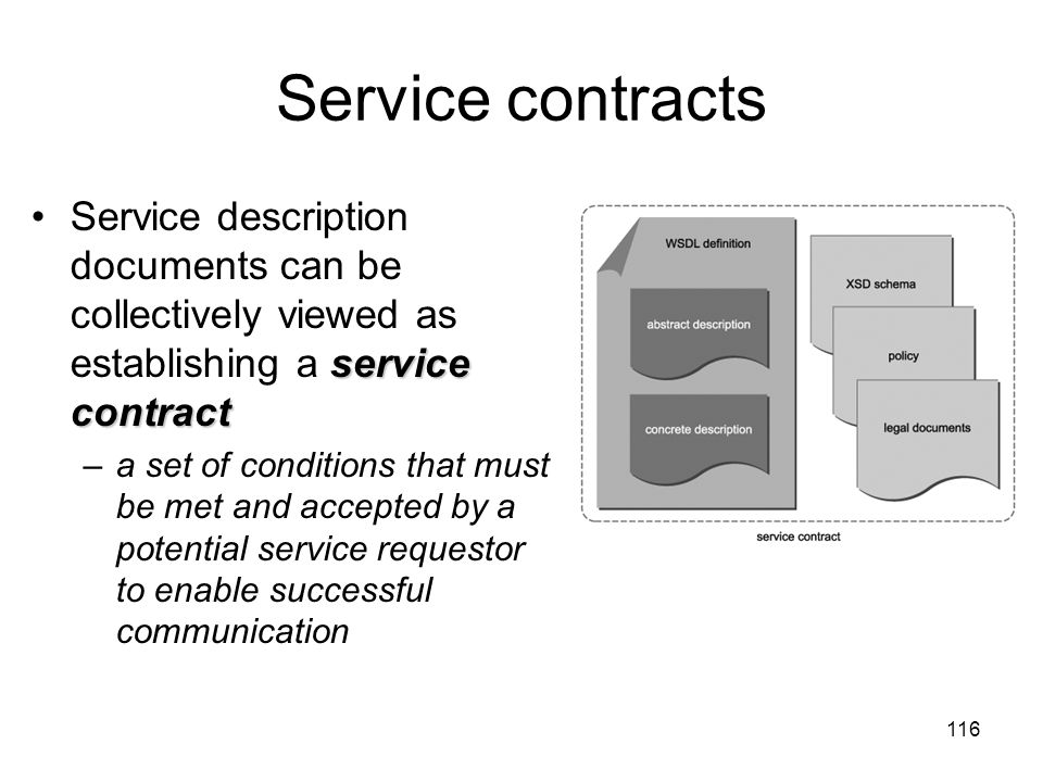 Service contracts Service description documents can be collectively viewed as establishing a service contract.