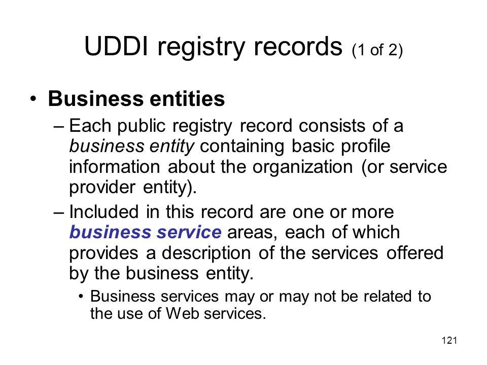 UDDI registry records (1 of 2)