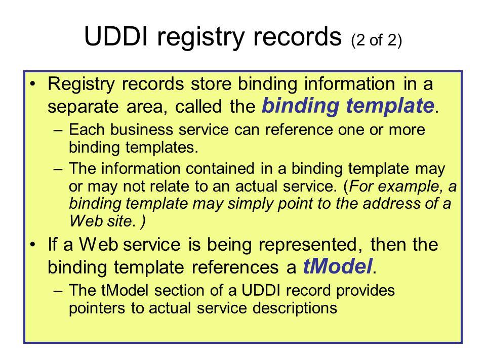UDDI registry records (2 of 2)