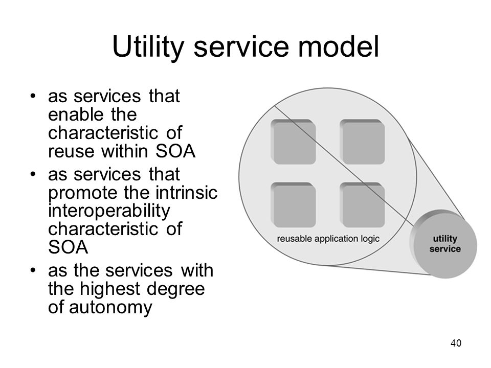 Utility service model as services that enable the characteristic of reuse within SOA.