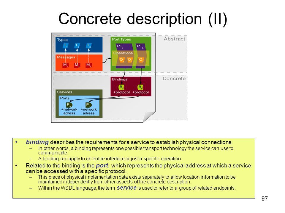 Concrete description (II)