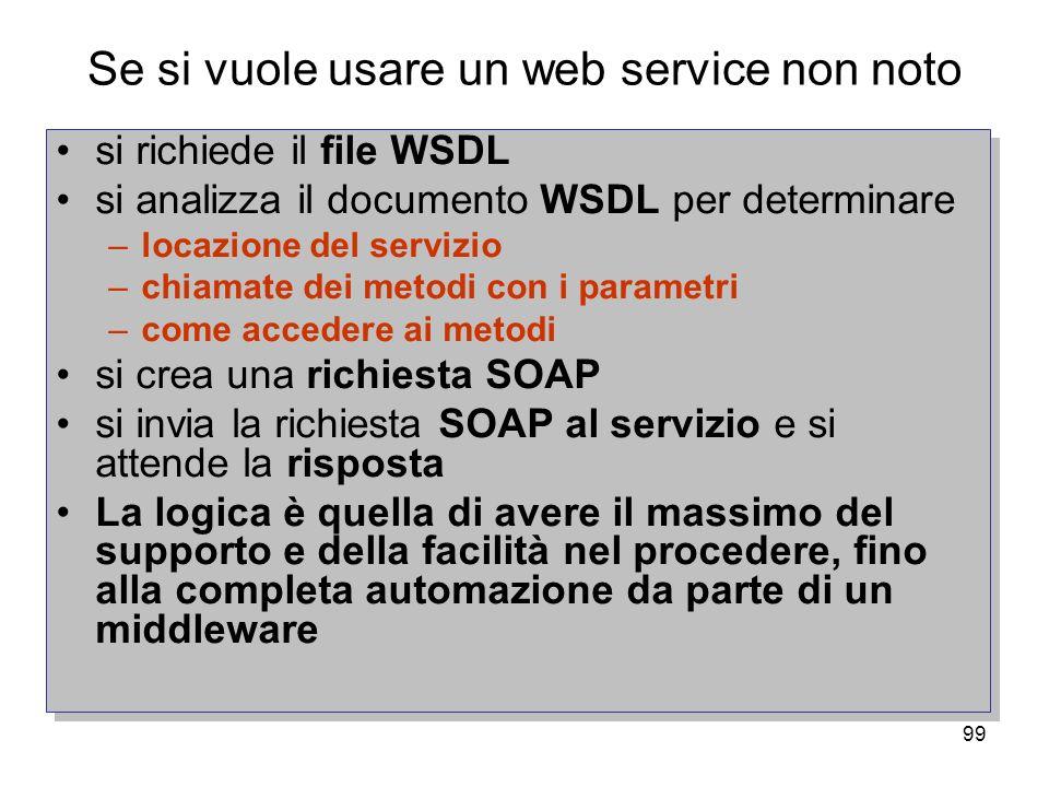 Se si vuole usare un web service non noto