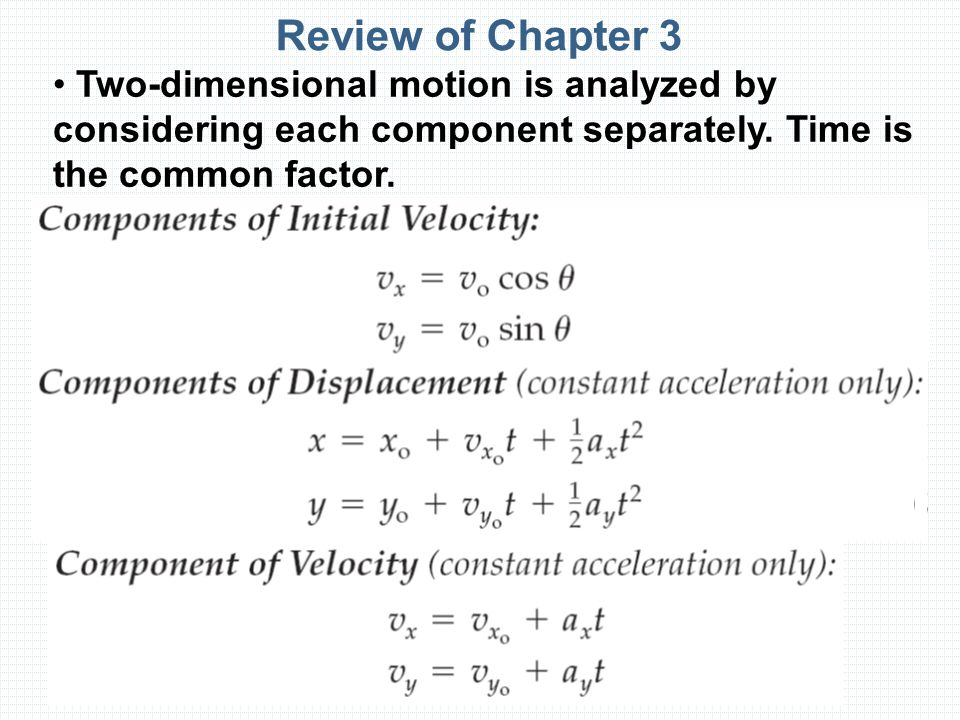 Review of Chapter 3 Two-dimensional motion is analyzed by considering each component separately.