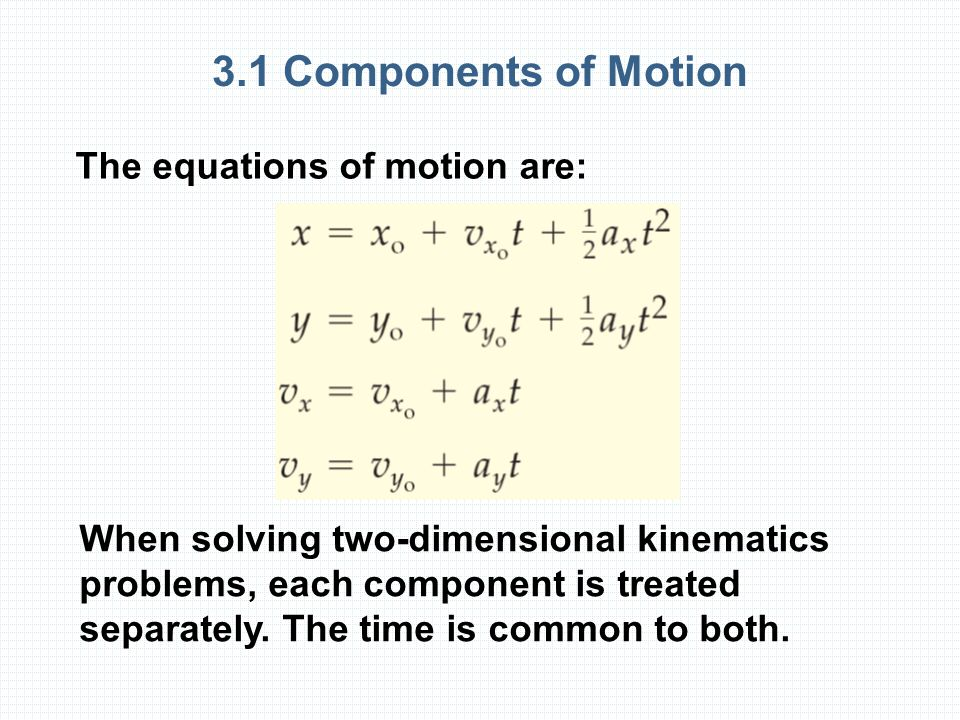 3.1 Components of Motion The equations of motion are: