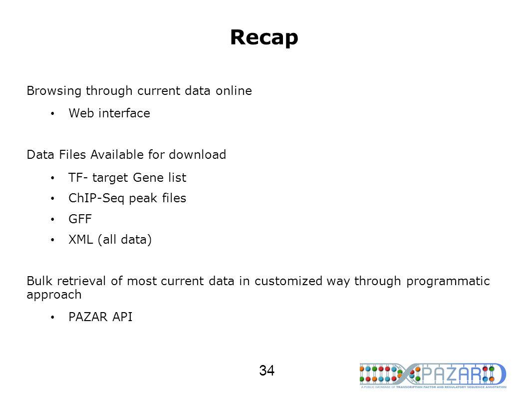 Recap Browsing through current data online Web interface