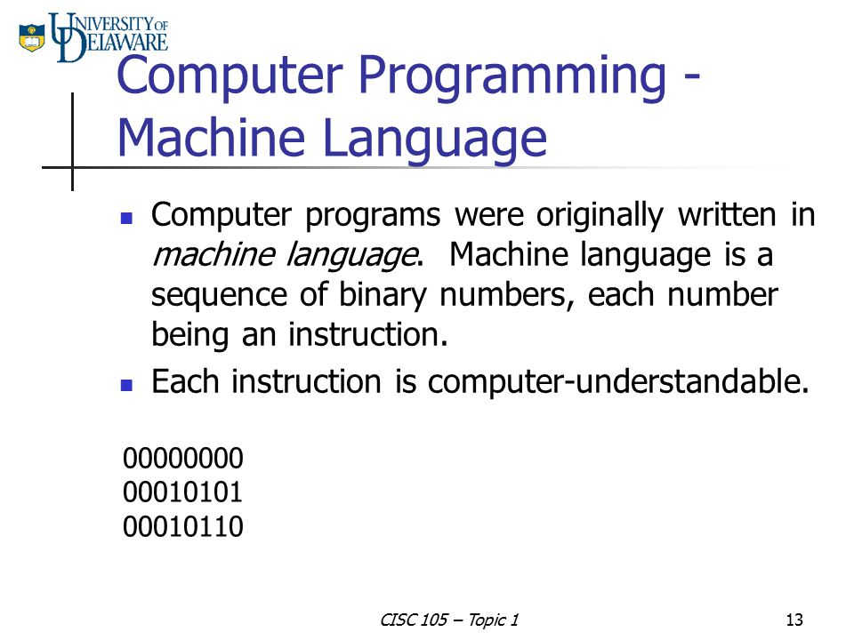 Computer Programming - Machine Language
