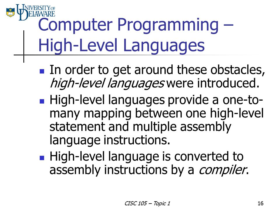 Computer Programming – High-Level Languages
