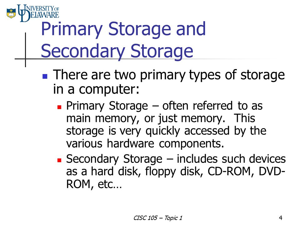 Primary Storage and Secondary Storage