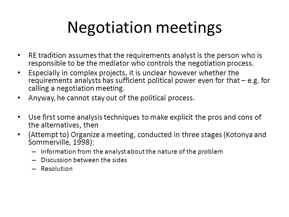 an analysis of the process of negotiation These principles should be observed at each stage of the negotiation process  the process begins with the analysis of the situation or problem, of the other.