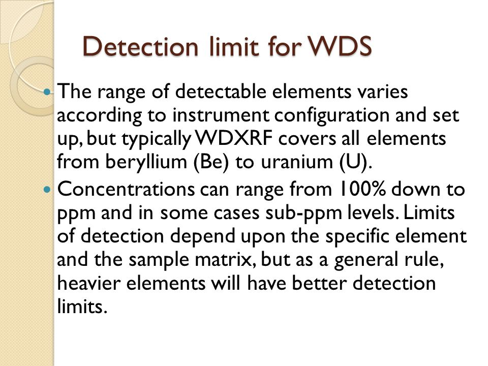 Detection limit for WDS