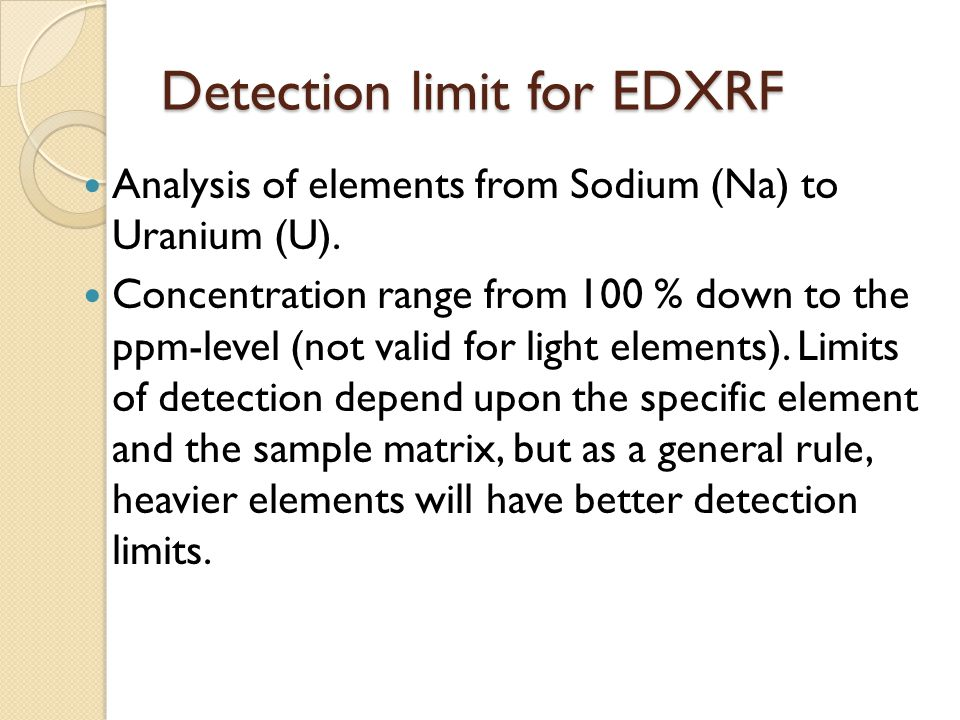Detection limit for EDXRF