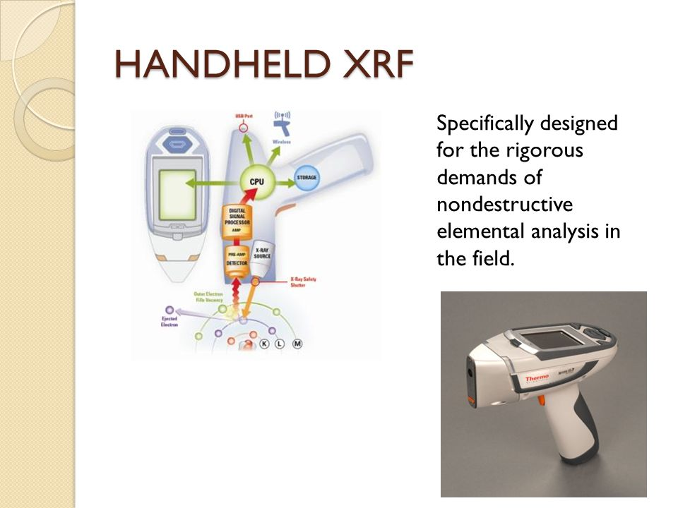 HANDHELD XRF Specifically designed for the rigorous demands of nondestructive elemental analysis in the field.