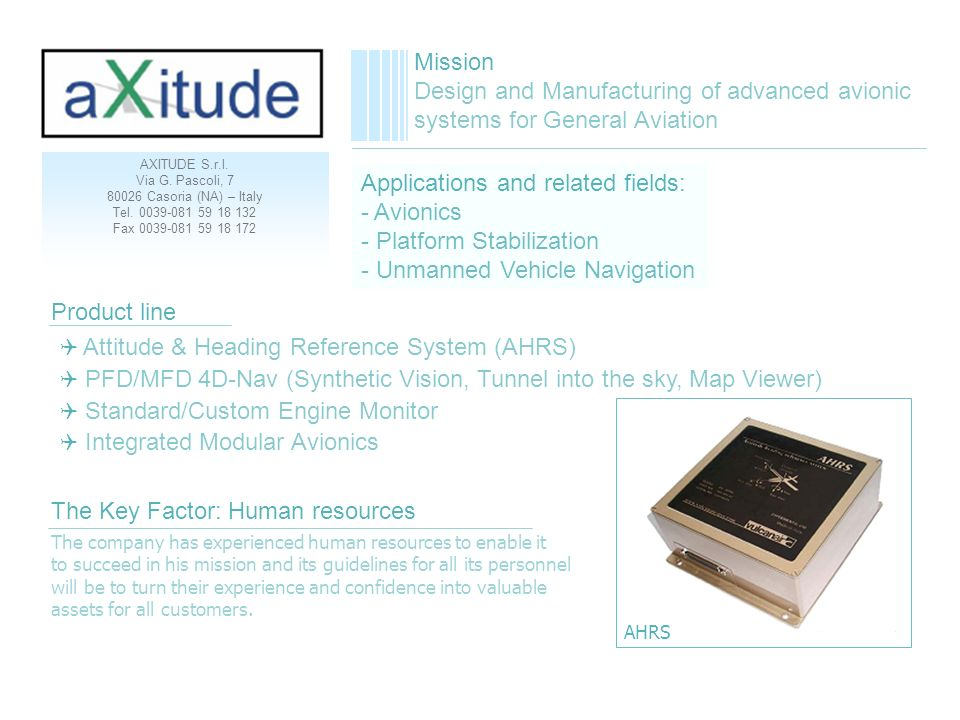 Applications and related fields: - Avionics - Platform Stabilization