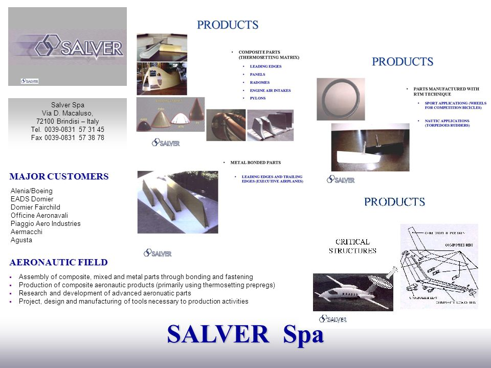 SALVER Spa MAJOR CUSTOMERS AERONAUTIC FIELD Salver Spa