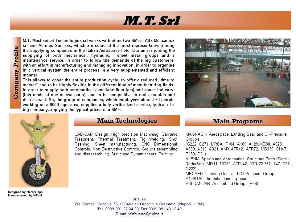 M.T. Srl Company Profile Main Technologies Main Programs