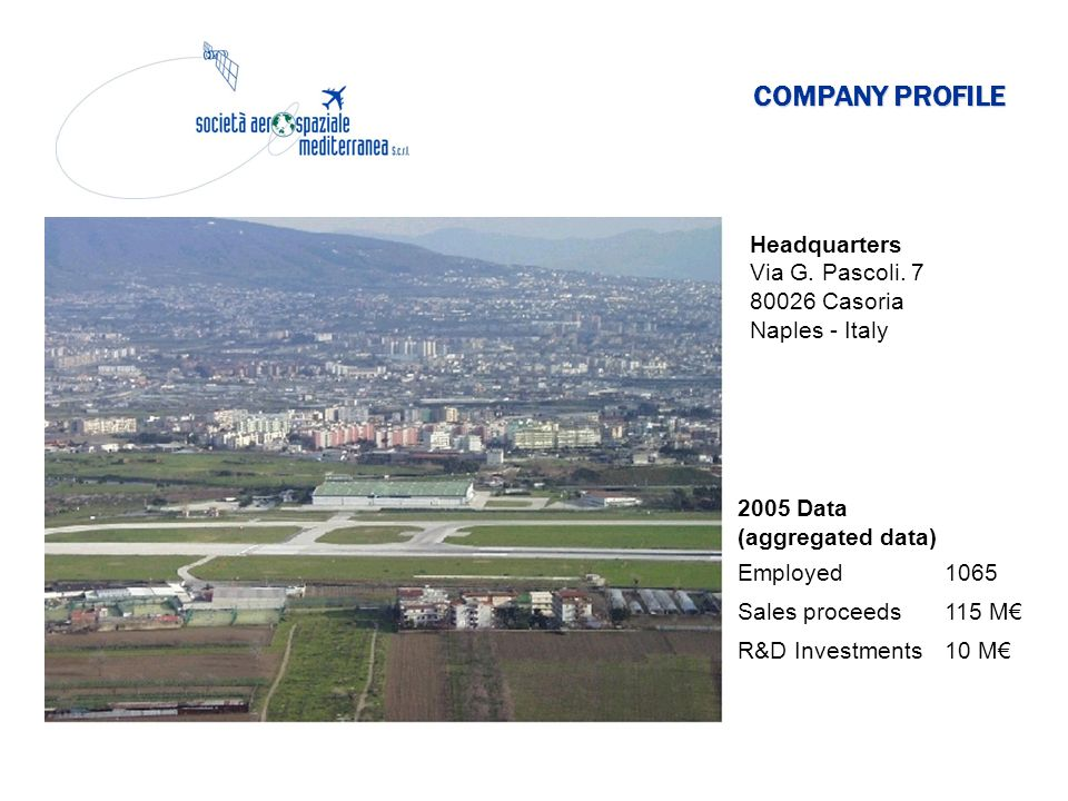 COMPANY PROFILE Headquarters Via G. Pascoli. 7 80026 Casoria