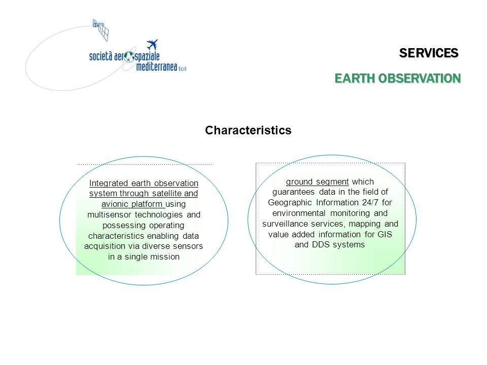 SERVICES EARTH OBSERVATION Characteristics