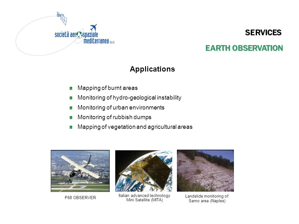 SERVICES EARTH OBSERVATION Applications Mapping of burnt areas
