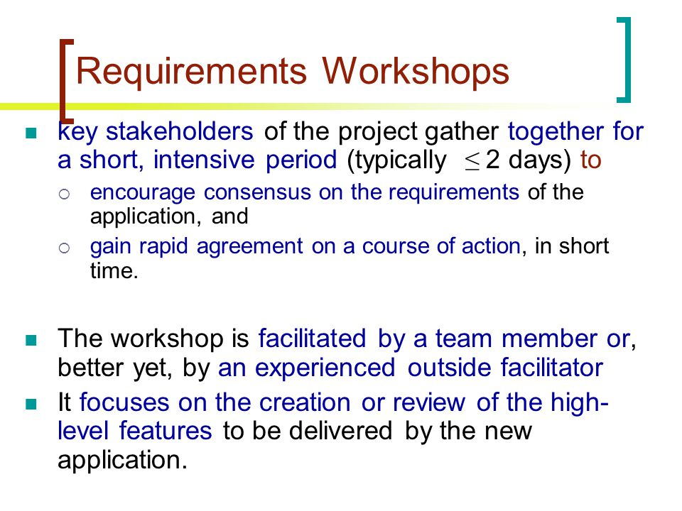 Requirements Workshops