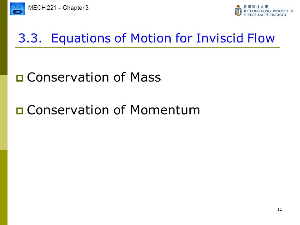 3.3. Equations of Motion for Inviscid Flow
