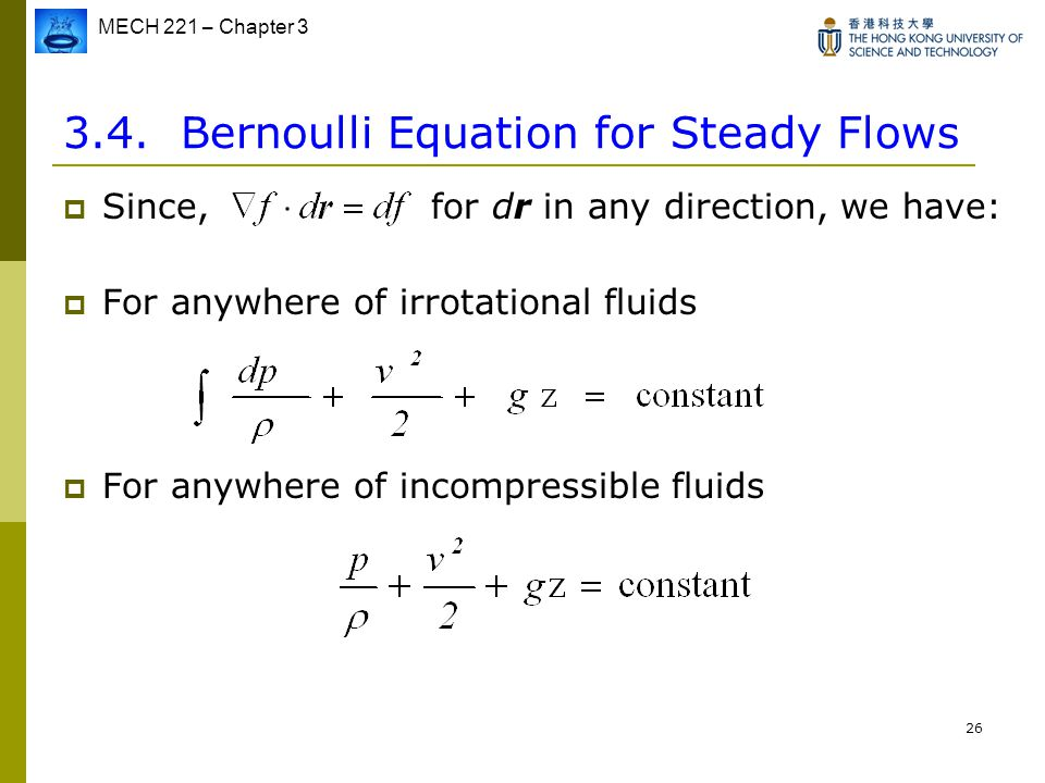 3.4. Bernoulli Equation for Steady Flows