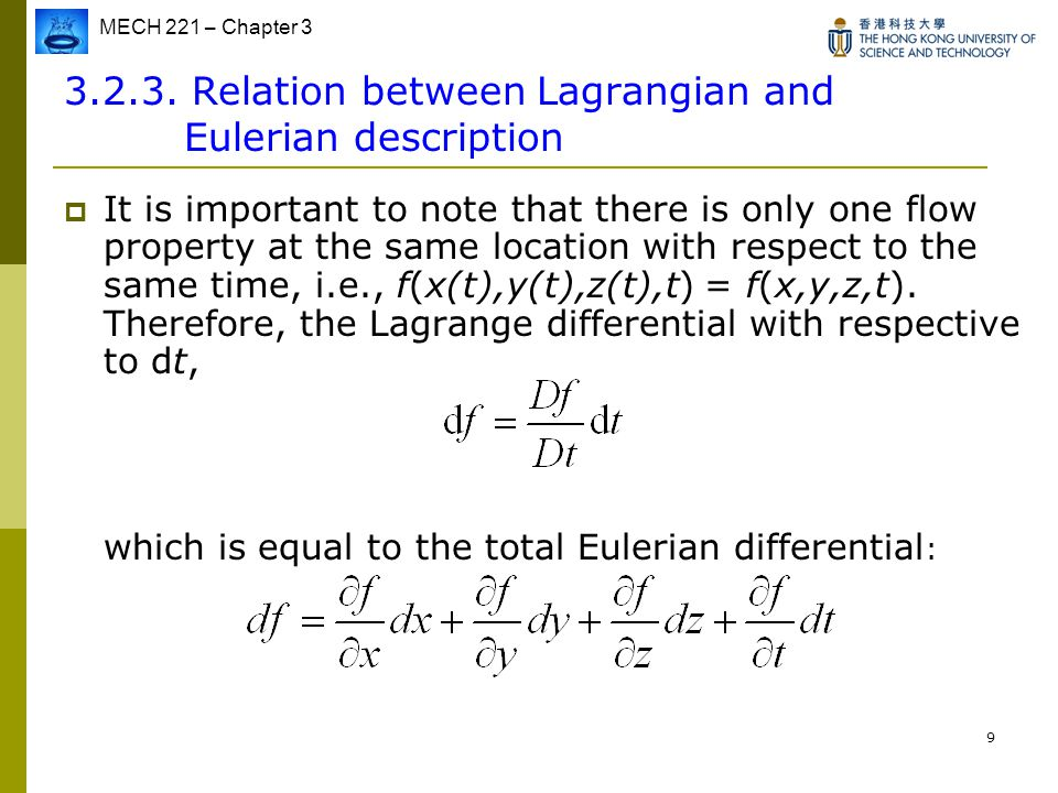 Relation between Lagrangian and Eulerian description