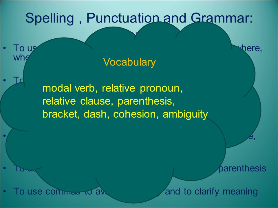 Spelling , Punctuation and Grammar: Year 5