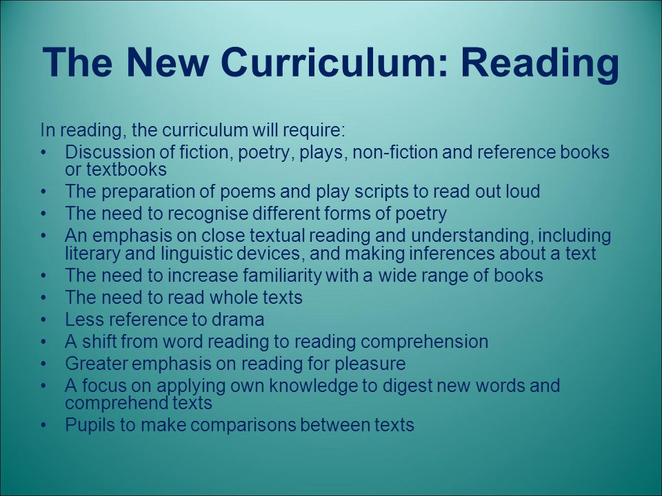The New Curriculum: Reading