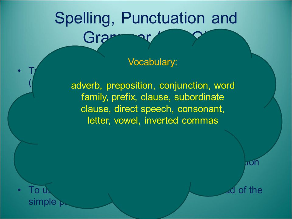Spelling, Punctuation and Grammar (SPaG)