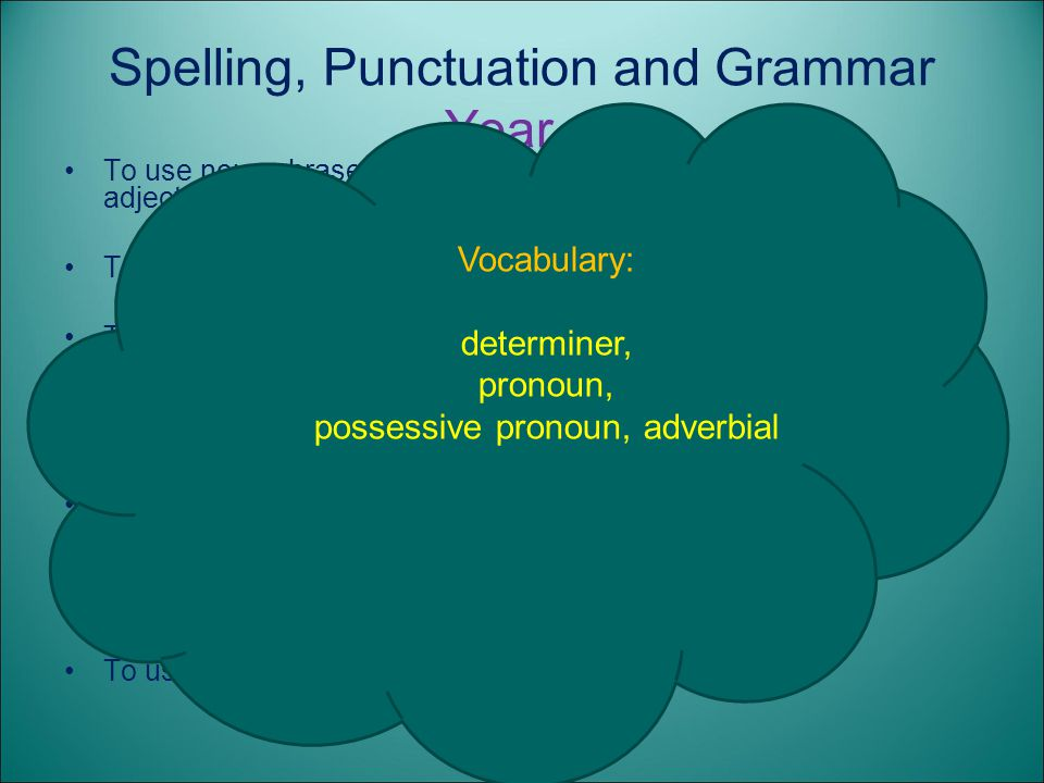 Spelling, Punctuation and Grammar Year 4