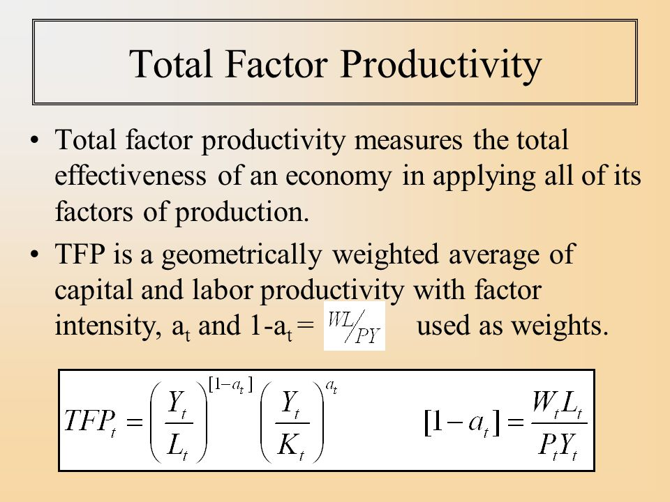 total factor productivity 1 the impacts of information technology on total factor productivity: a look at externalities and innovations yen-chun choua, howard hao-chun chuanga, and benjamin b m shaob, adepartment of management information systems college of commerce.