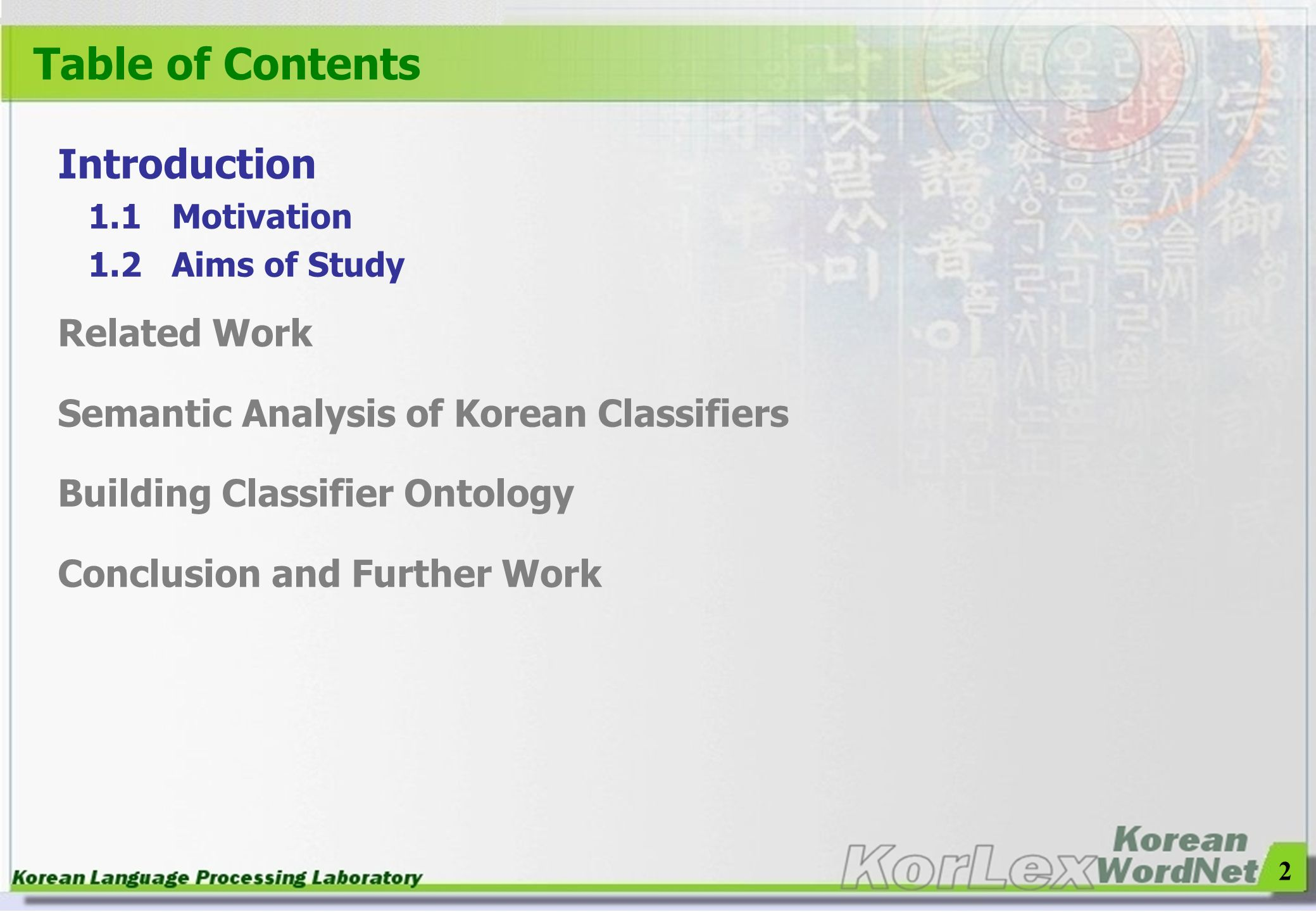 Table of Contents Introduction Related Work