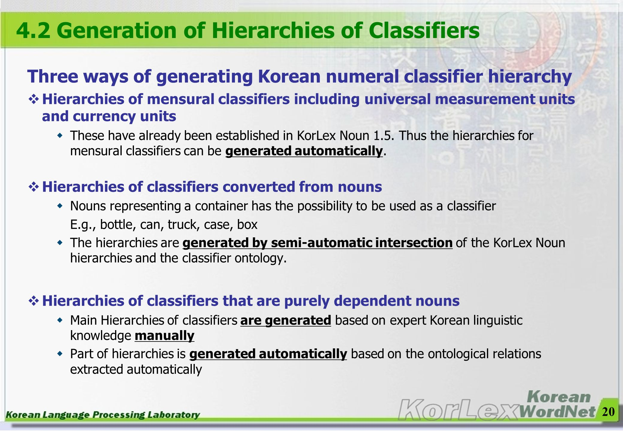4.2 Generation of Hierarchies of Classifiers